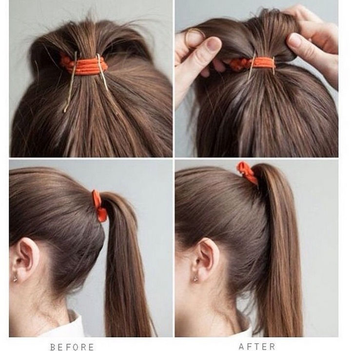 14 Lazy Girl Hair Hacks - Avoid a saggy ponytail by attaching 2 bobby pins to your elastic.