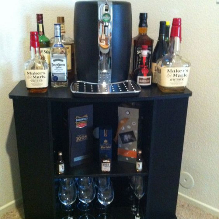 18 DIY Bars and Bar Carts - TV stand bar.