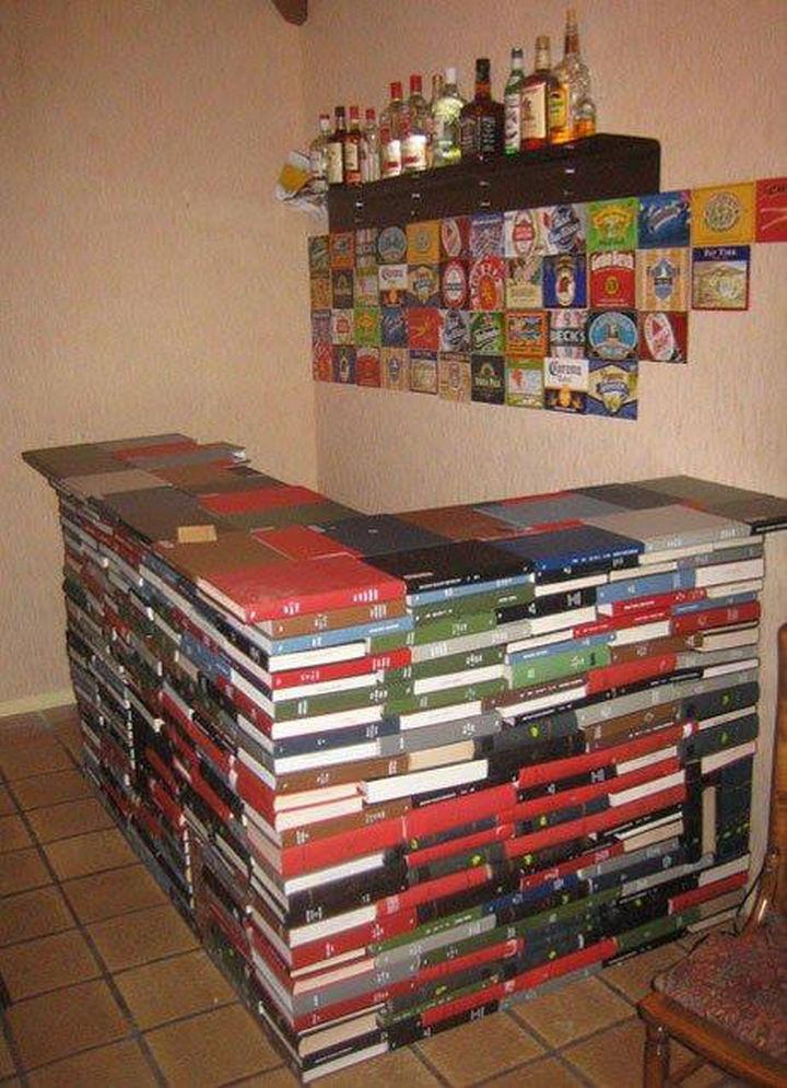 18 DIY Bars and Bar Carts - Book bar.
