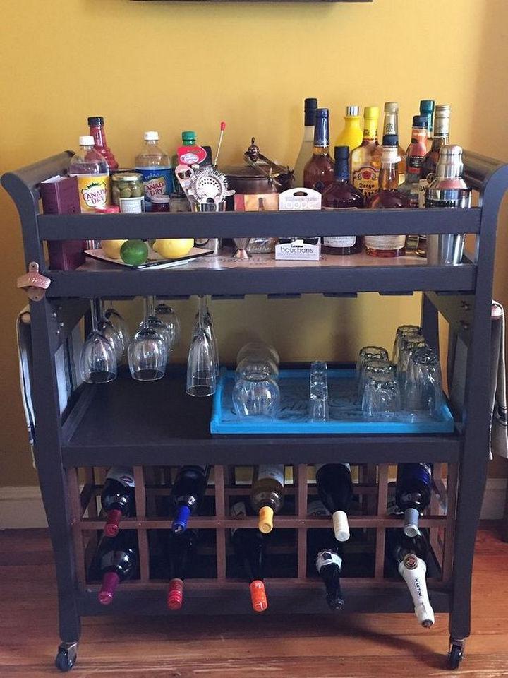 18 DIY Bars and Bar Carts - Upcycle a baby changing table into a bar cart.