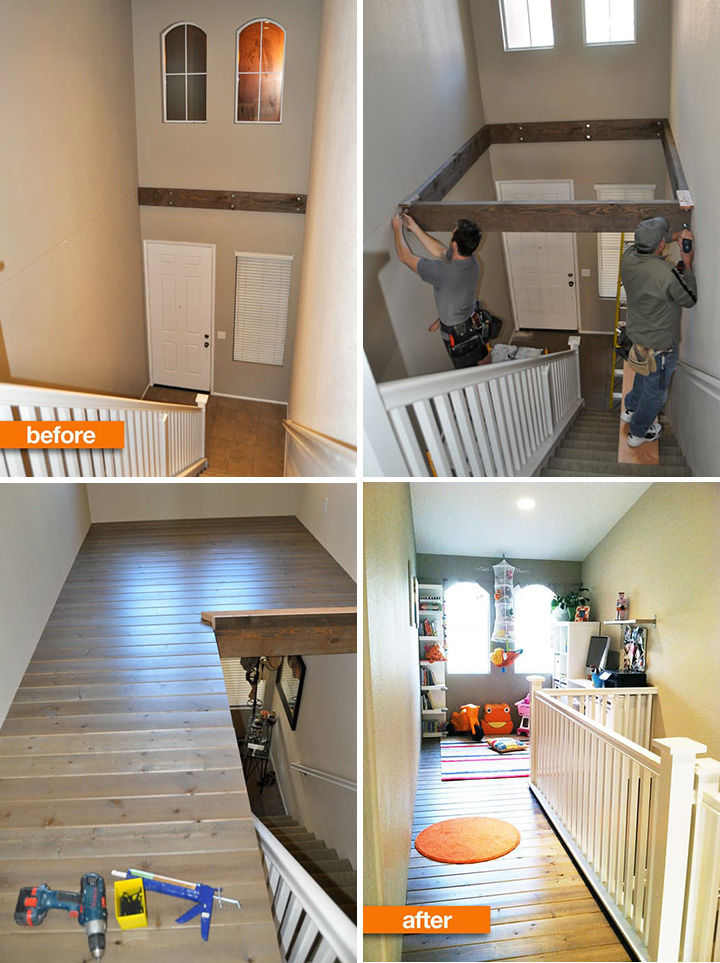18 DIY Storage Ideas For Your Home - Build a loft or home office and reclaim unused space in your foyer.