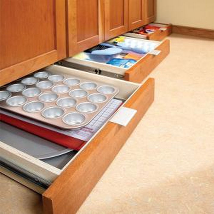 18 DIY Storage Ideas For Your Home - Maximize kitchen storage space by installing under-cabinet drawers.