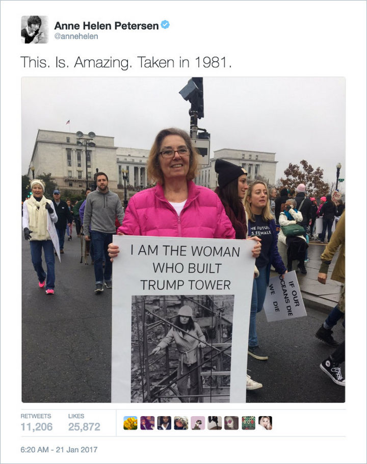 "20 Epic Women's March Signs - ""I am the woman who built Trump Tower."""