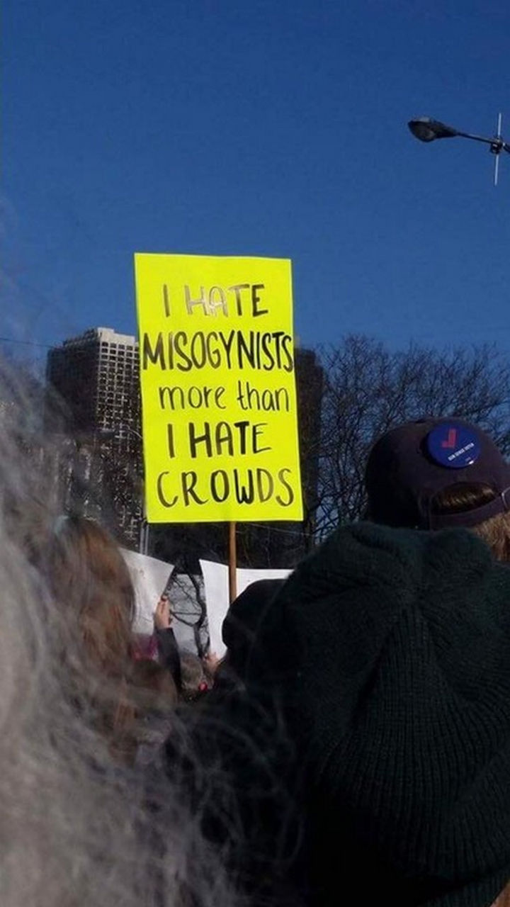"20 Epic Women's March Signs - ""I hate misogynists more than I hate crowds."""