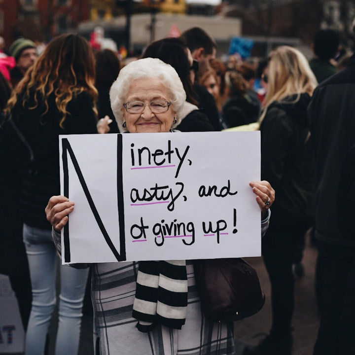 "20 Epic Women's March Signs - ""Ninety, nasty, and not giving up"""