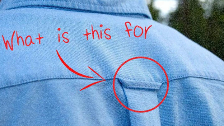 20 Everyday Life Hacks - The loop on some dress shirts is meant to hang your shirt on a hook without getting wrinkled.