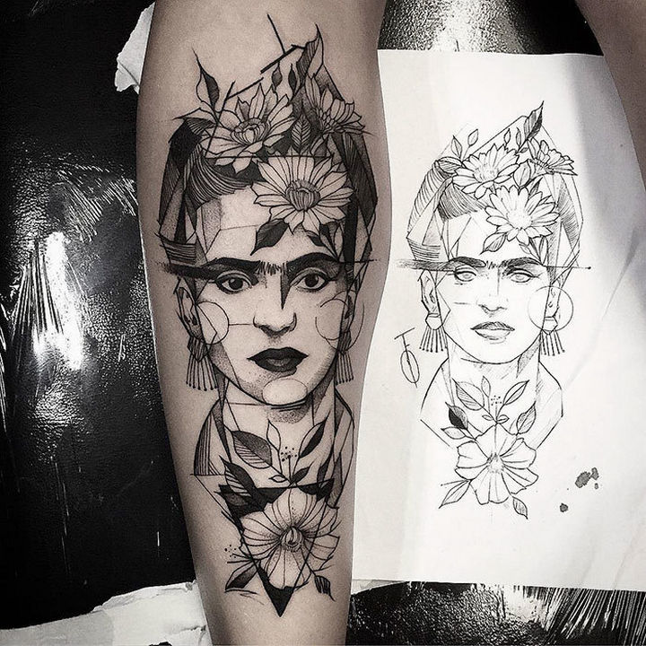 22 Classical Art Tattoos - Frida Kahlo.