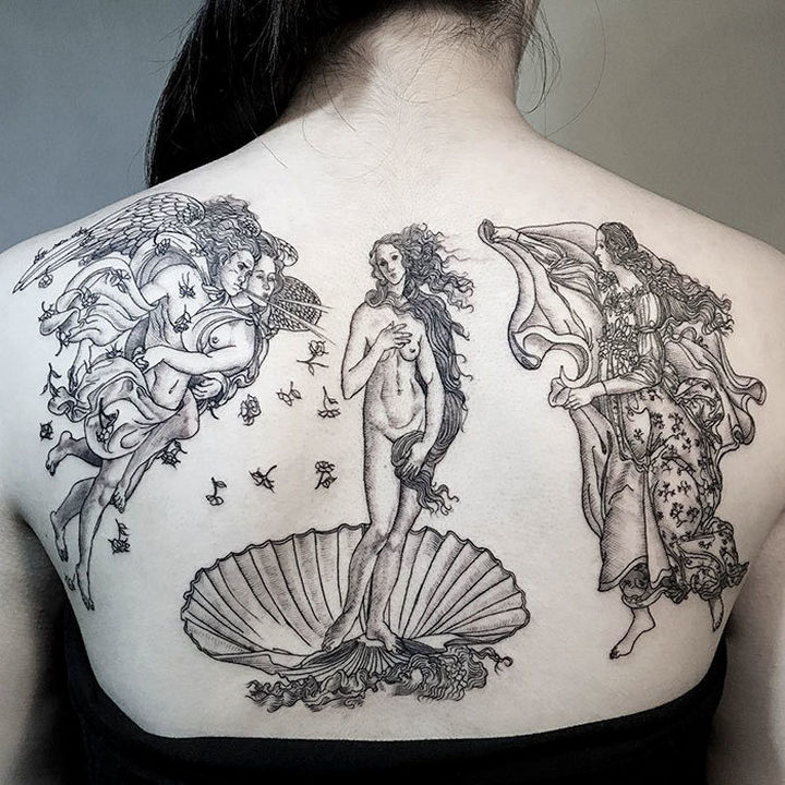 "22 Classical Art Tattoos - ""The Birth of Venus"" by Sandro Botticelli."