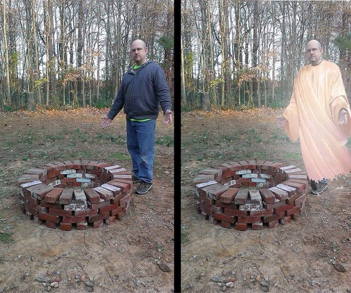 "25 Funny Photoshop Trolls - ""I give thou...fire pit. Amen."""