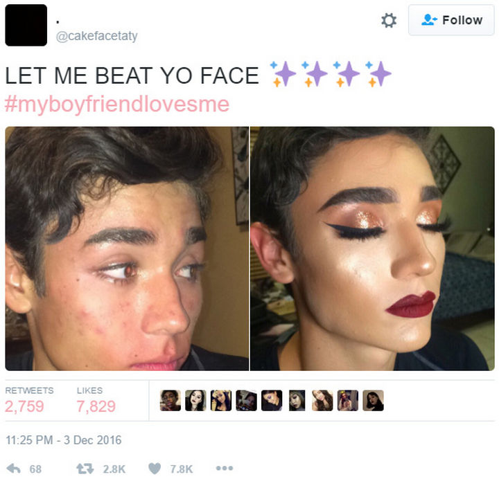 26 Funny Photos - If your boyfriend lets you practice your makeup skills on his face, you have a keeper.