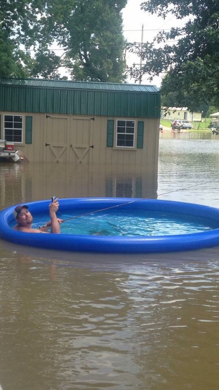 31 People Making the Best of a Bad Situation - Or, relax by the pool and go fishing.