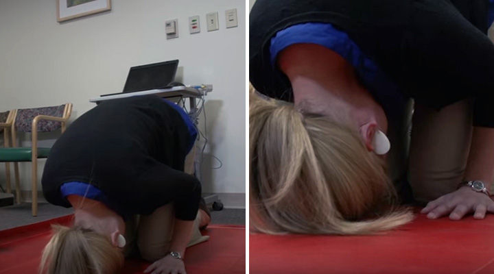 Benign Paroxysmal Positional Vertigo Treatment - Place your head completely upside down with your chin tucked under slightly towards your knees.