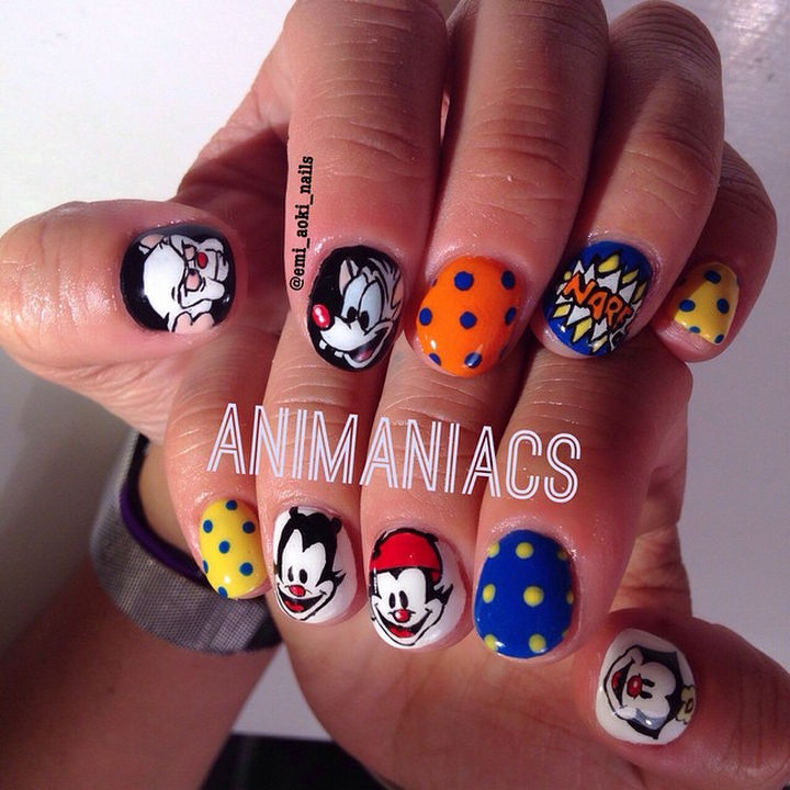 19 Cartoon Nails - If you remember the Animaniacs theme song, you know it's catchy. These Animaniacs nails are just as brilliant.