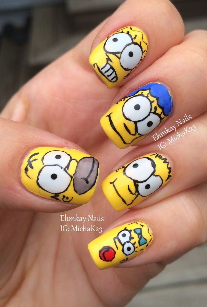 19 Cartoon Nails - Can you believe The Simpsons premiered on the Tracey Ullman Show in 1987! 30 years later, they are still as popular as ever and so are Simpsons nails.