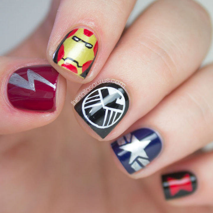 19 Cartoon Nail Art Designs - If you're a fan of the Marvel Universe, Marvel manicures like this one featuring The Avengers are totally epic.