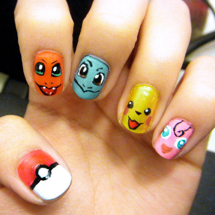 19 Cartoon Nails - Catch 'em all with these Pokémon nails.