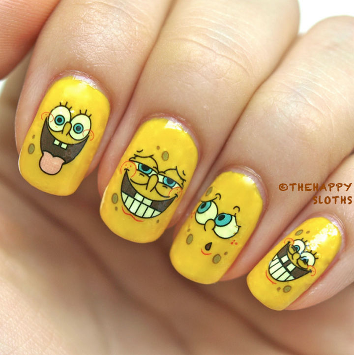19 Cartoon Nails - SpongeBob SquarePants has tons of facial expressions and these nails feature just some of the many faces of SpongeBob.