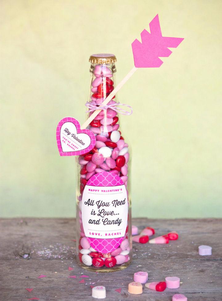 27 DIY Valentine's Day Crafts - Make Valentine candy bottles and heart arrows.