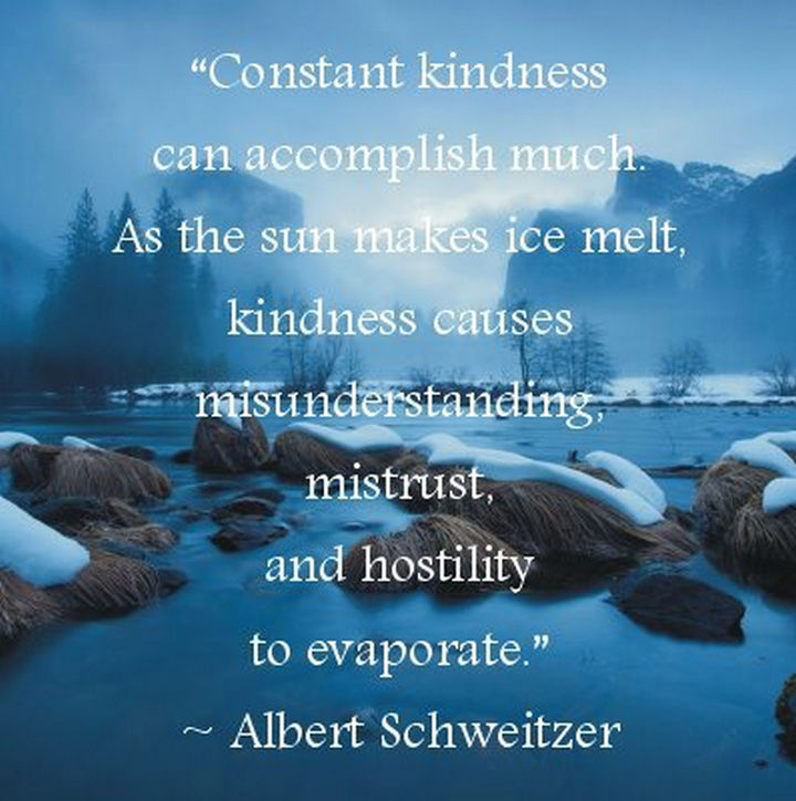 "75 Amazing Relationship Quotes - ""Constant kindness can accomplish much. As the sun makes ice melt, kindness causes misunderstanding, mistrust and hostility to evaporate."" - Albert Schweitzer"