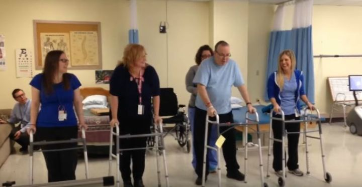 John Woloski Dances for Stroke Awareness With His Therapists.