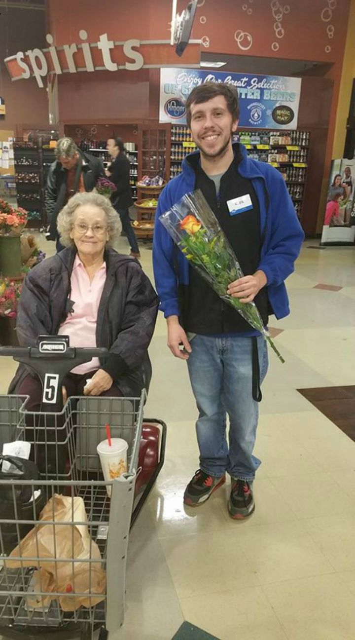 Kroger cashier surprises this 90-year-old birthday girl and her niece, Jeannettea Hollingshead‎, with a beautiful rose.