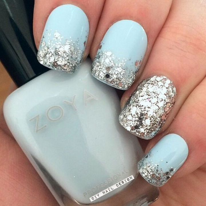 Silver glitter with a striking accent nail.