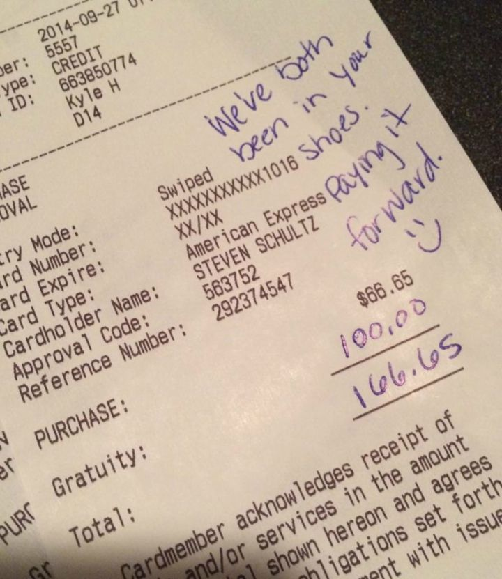 On September 27th, Makenzie and Steven Schultz gave their waiter a $100 tip because they felt he did a good job considering all the customers he handled.