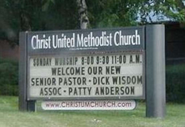 "31 Church Signs - ""Welcome our new Senior Pastor - Dick Wisdom. Assoc - Patty Anderson."""