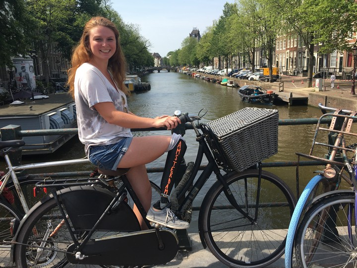 Cycling in Amsterdam,Netherlands.