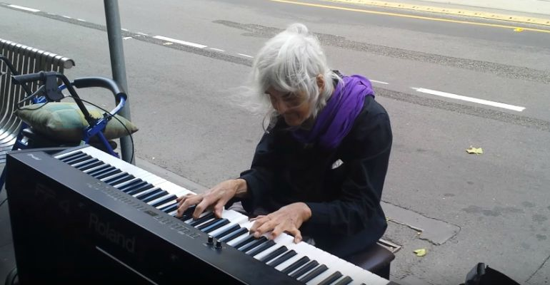 80-Year-Old Natalie Plays Piano on the Streets of Melbourne, Australia.