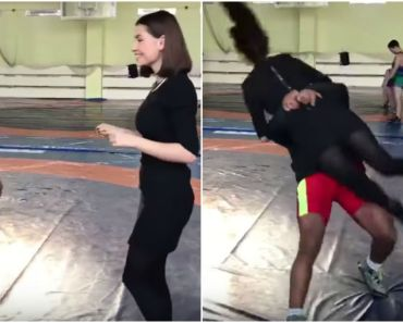 Reporter Asks Wrestler Zhan Beleniuk to Demonstrate His Technique.