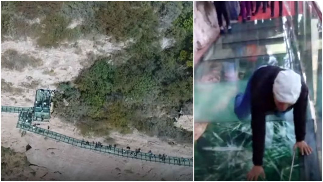 Glass Skywalk in China Appears To Crack as Tourist Walk Across.