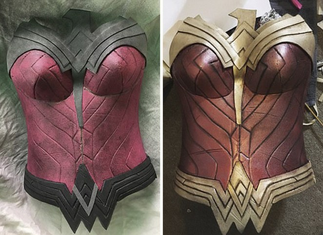 She spray painted the entire costume and added finer details painted by hand.