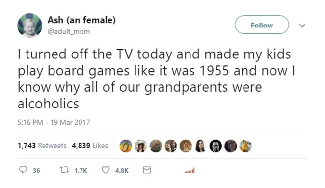 17 Funniest Parent Tweets - Playing Monopoly with family would drive me to drink too.