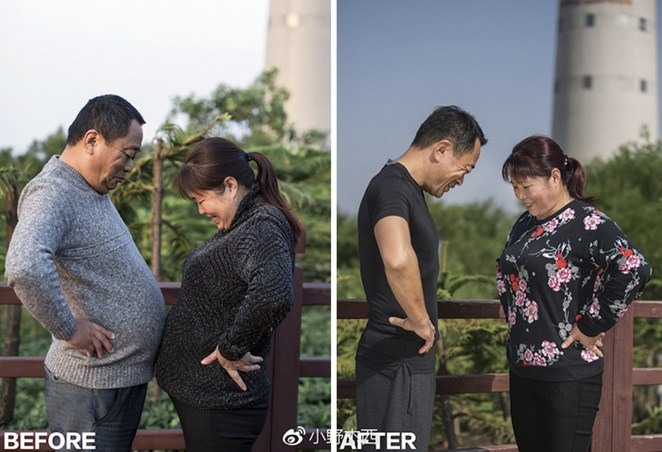 His father's successful weight loss transformation inspired his mother to get fit as well.