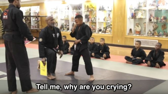 Mentor Jason WIlson Tells His Martial Arts Student That It's OK to Cry.