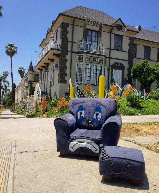 Sad child's chair and ottoman.