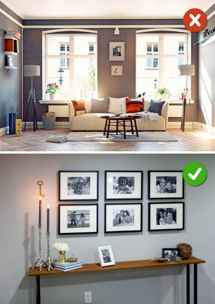 15 Living Room Design Mistakes - Incorrectly positioned photos.