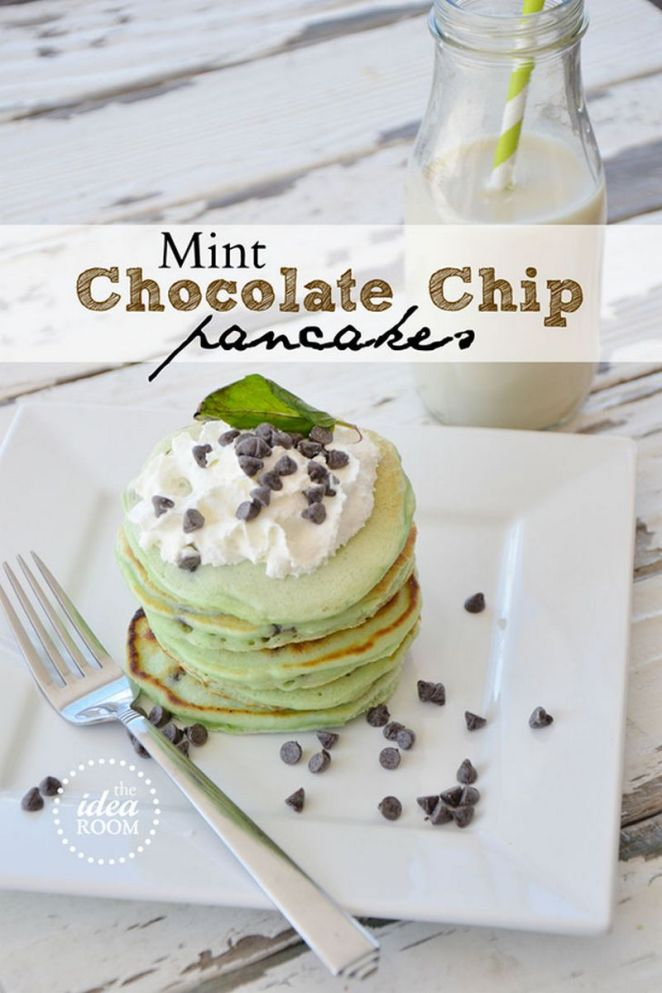 10 Best Pancake Recipes - Mint Chocolate Chip Pancakes.