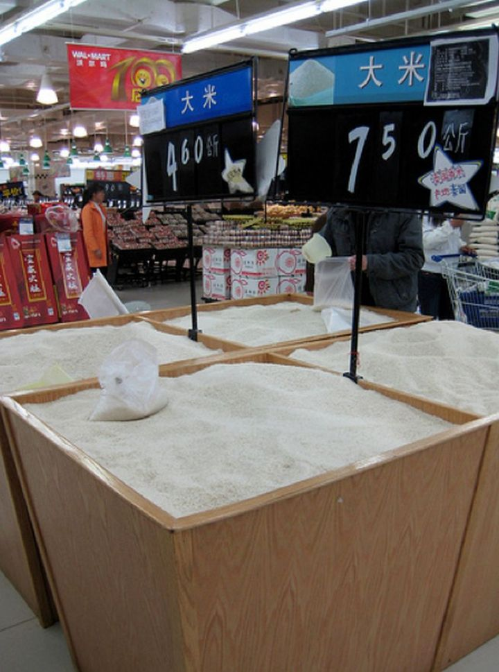 15 Items Sold at Walmart Stores in China - Rice in bulk.