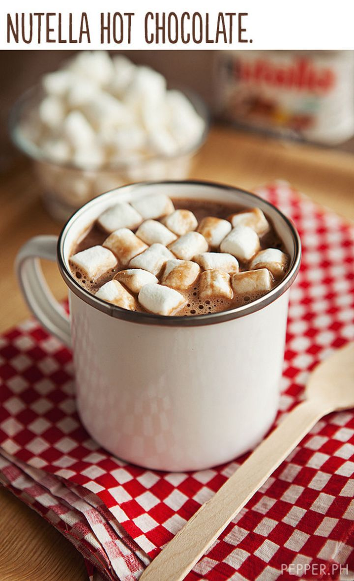 """21 Cute Ways to Say """"I Love You"""" - Nutella hot chocolate."""