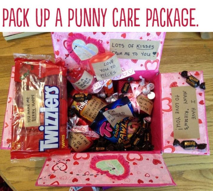 "21 Cute Ways to Say ""I Love You"" - Pack up a punny care package."