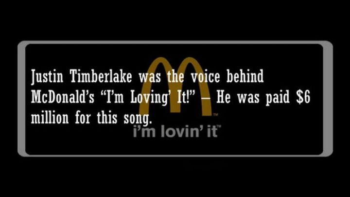 """19 Food Facts -""""Justin Timberlake was the voice behind McDonald's """"I'm Loving' It!"""" - He was paid $6 million for this song."""""""