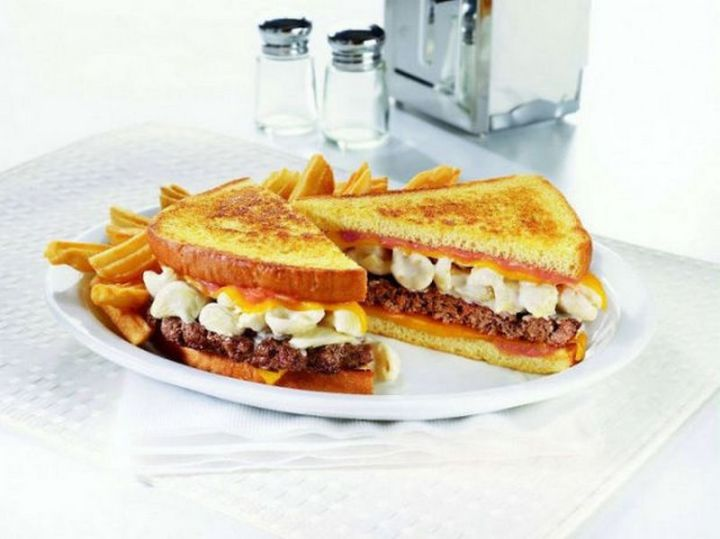 19 Ridiculous But Real Fast Food Items - Denny's Mac 'n Cheese Big Daddy Patty Melt.
