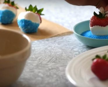 Patriotic Red, White, and Blue Chocolate-Covered Strawberries.