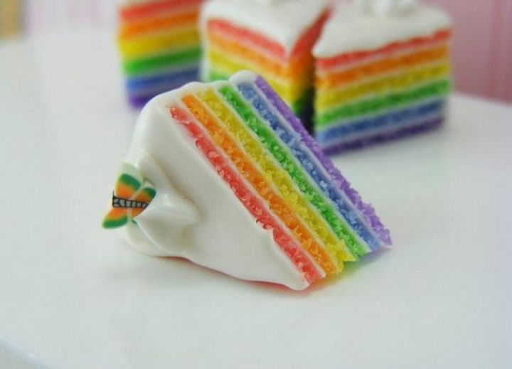 Shay Aaron Miniatures - Tiny Food (rainbow cake) That is Collectible and Wearable!