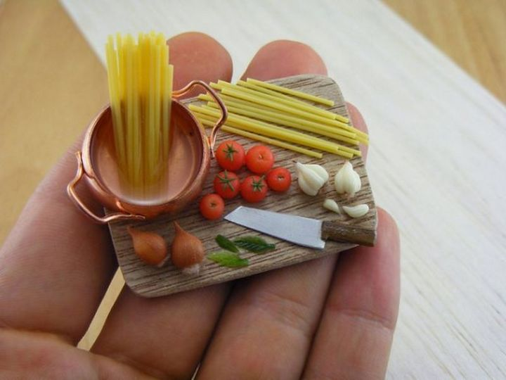Shay Aaron Miniatures - Tiny Food (cooking spaghetti) That is Collectible and Wearable!