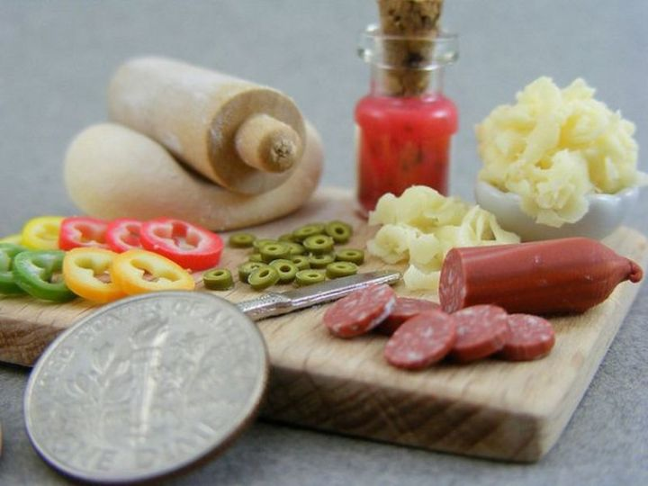 Shay Aaron Miniatures - Tiny Food (making pizza) That is Collectible and Wearable!