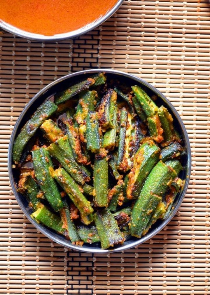 49 Indian Side Dishes - Besanwali Bhindi.