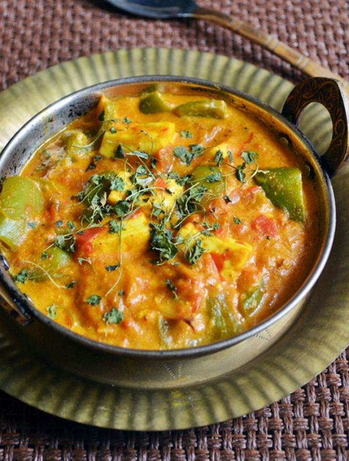 49 Indian Side Dishes - Paneer Capsicum Masala.
